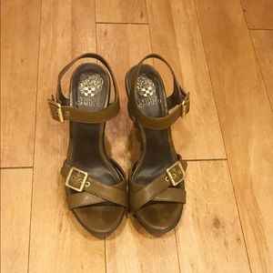 Vince Camuto Catey Army Green Sandal Heels